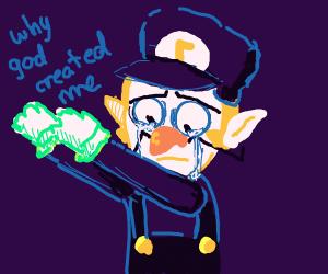 Waluigi crying while dabbing