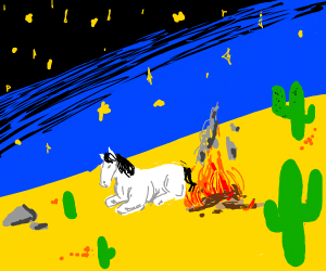 Horse sits by the campfire in the desert