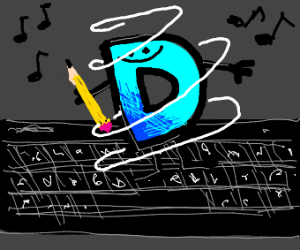 Drawception D dances on keyboard