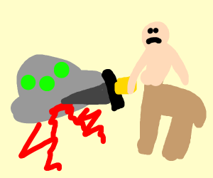 Camel man with blonde hair stabbing ufo