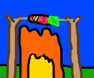Loving carrot on fire