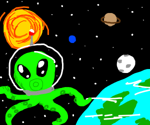 Octopus Alien hybrid up in space