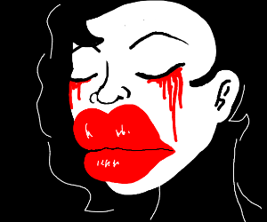 Face with giant lips crying blood