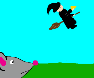 evil witch steals the mouse's cheese