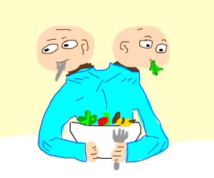 2 dudes being dudes while eating a salad