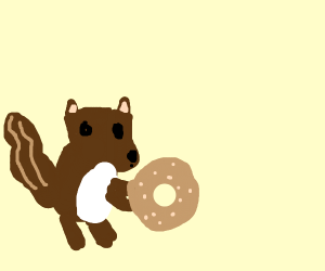 Squirrel playing with a bagel