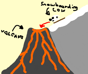 Cow snowboards into a volcano