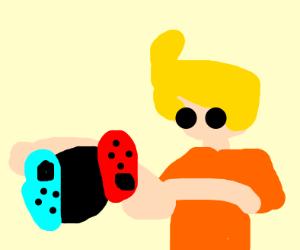 Blonde boy throwing away Nintendo switch