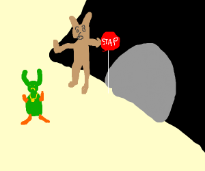 furry wont let the g-nome into scary cave