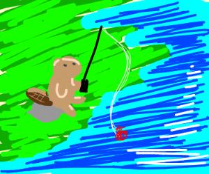 A beaver goes fishin' under the sun