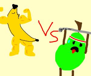 Buff banana man vs Weak pear man