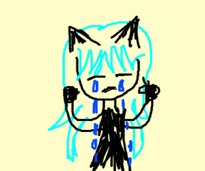 crying neko with blue Hair