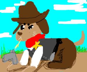 A cowboy dog