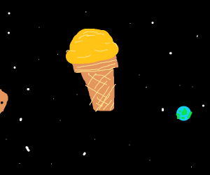 Ice cream floating in space