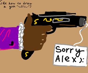 Gun with tag saying sorry