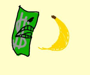 Dollar eats a banana