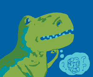 smart dinosaur contemplates philosophers