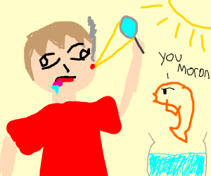 Orange fish and confused dude witha magnifier