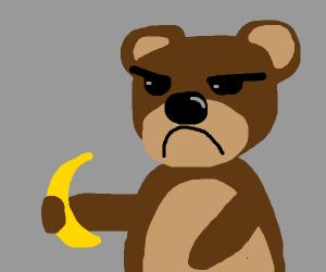 Angry bear with banana