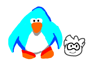Blue club penguin with a white puffle