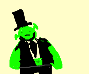 Shrek as Abraham Lincoln with a tophat