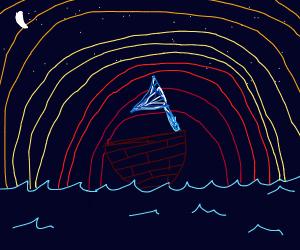 Sailboat on a beautiful sunset night