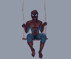 Spider-Man on a swing