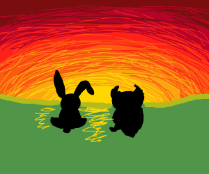 a rabbit and an owl admire the sunset