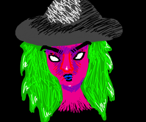 Angry pink, green-haired witch