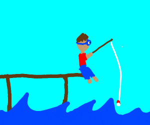 man with goggles fishing