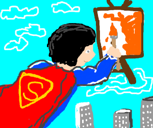 buff superman painting with orange paint