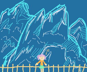 Girl in front of icy mountains