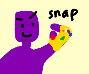 Naked thanos snaps his fingers