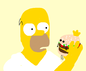Homer from simpsons eating Burger King