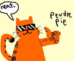 Garfield with sunglasses supports PewDiePie
