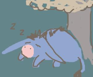 Eeyore from winnie the poon sleep under tree
