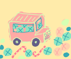 pastel candy bus