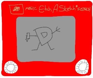 Drawception on etch a sketch