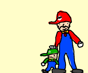 short Luigi and tall Mario just being bros