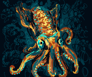 A brown cephalopod in the dark