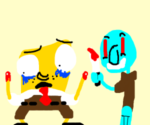 spongebob's hand gets chopped off