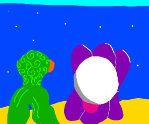a strange alien staring at a huge pearl