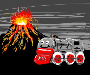 happy train by a volcano