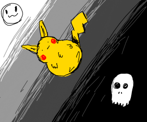 Pikachu wanders the space between life&death