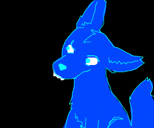 Confused blue wolf with an overbite