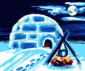 Cooking outside an igloo