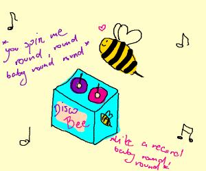 Disco bee is jamming the vinyls