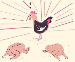 Roast chickens worship live chicken