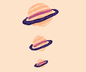 3 jupiters, but they get smaller