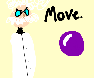 Scientist with grey hair moving a purple orb
